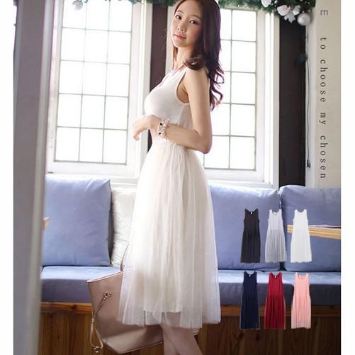 洋裝韓板背心網紗裙BNM