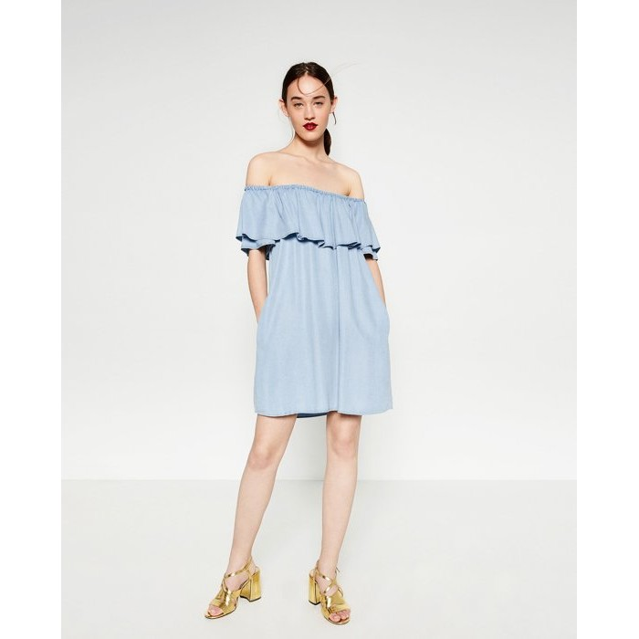 Black Market 一字領荷葉邊短袖天絲牛仔布洋裝顯瘦連身裙8566 046