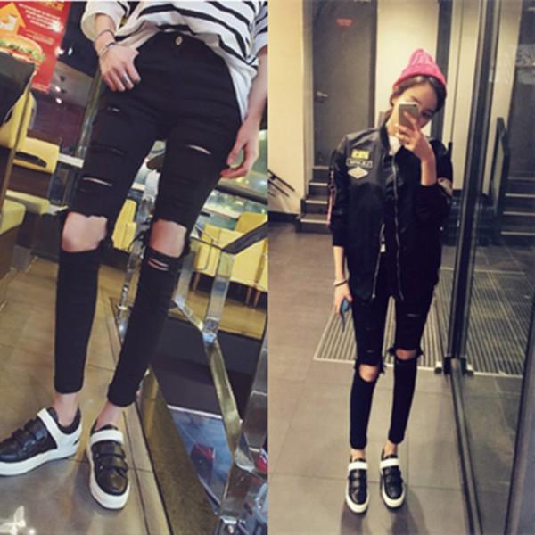 25 31 碼 黑色膝蓋大破洞牛仔褲緊身超顯瘦高腰小腳鉛筆褲大碼九分破褲