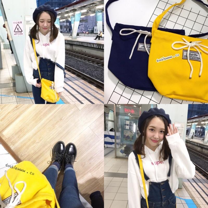 ❣️韓風帆布綁帶跨肩束口水桶斜背包