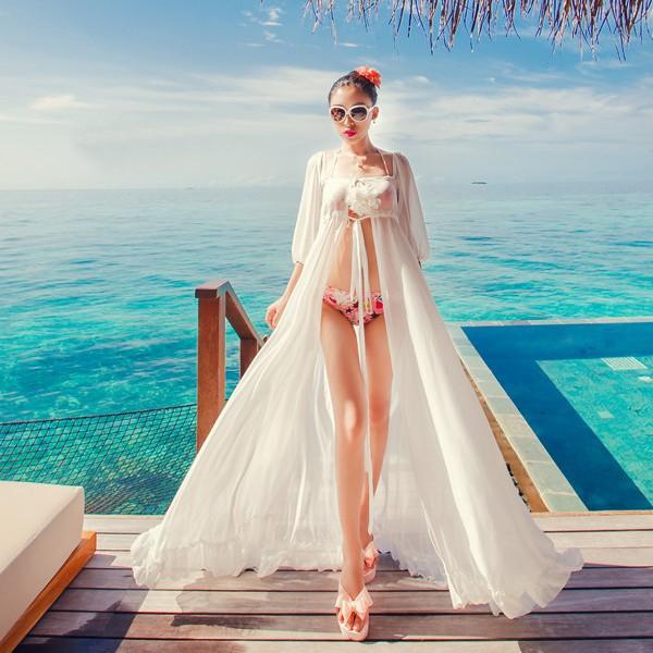 馬爾代夫海邊度假性感雪紡開衫連衣長裙飄逸垂感比基尼罩衫走秀款