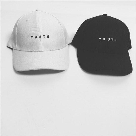 日系簡單文字風格黑白兩色youth 文字精緻純棉 刺繡棒球帽老帽鴨舌帽彎帽子K603