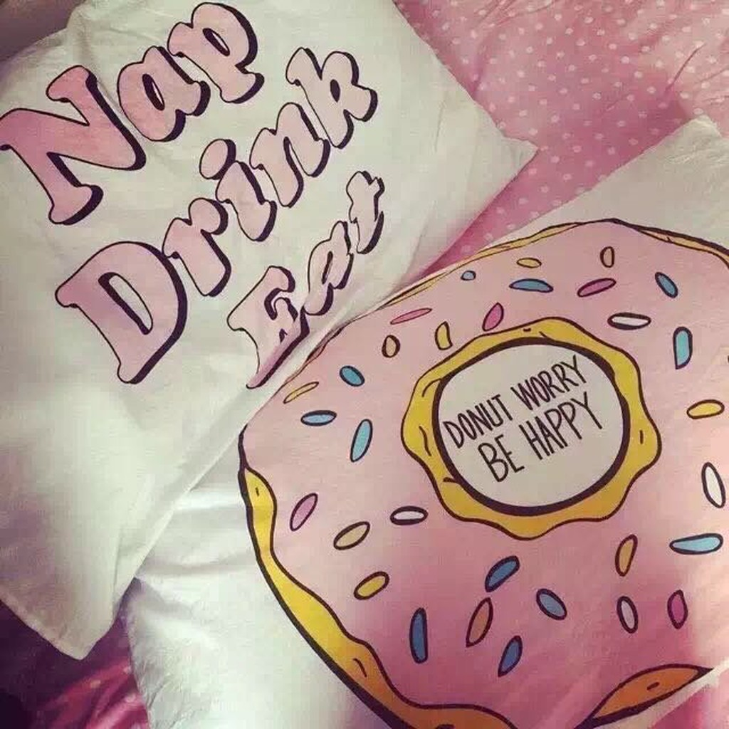 Eat Drink Nap dount worry reversible Pillowca