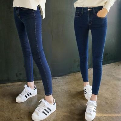 ☛牛仔褲☛ 學生中腰彈力牛仔褲女小腳褲修身顯瘦鉛筆長褲潮春夏款