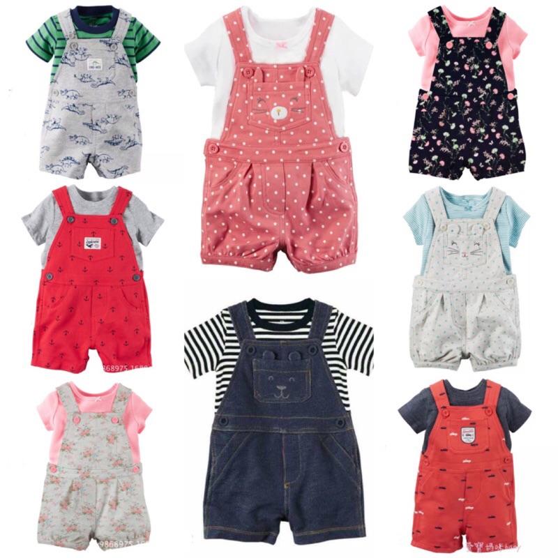 爆款春夏吊帶褲兩件式兒童套裝嬰兒寶寶男童女童男寶寶女寶寶