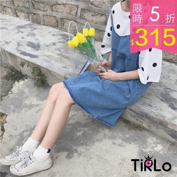 連身裙Tirlo 復古牛仔藍雙肩帶連身裙單一現追加預計5 7 工作天出貨