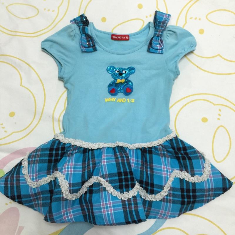 ~BETTY JO ~WHY AND 1 2 藍色普普熊格子洋裝5 號