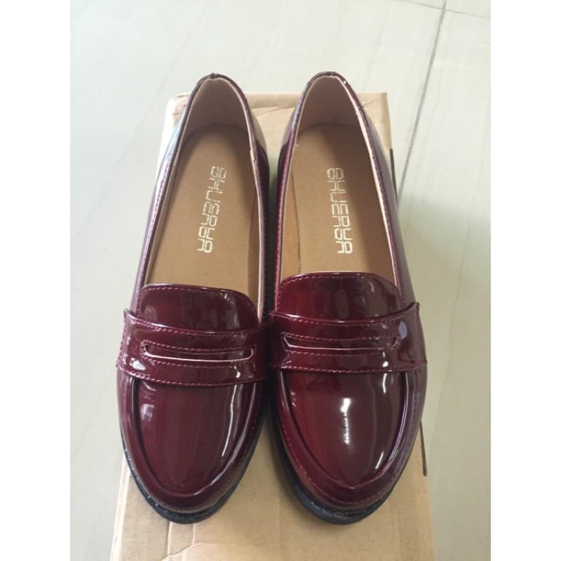 203 002 日系粗跟單鞋復古中跟圓頭牛津鞋小皮鞋學院風女鞋紅色35