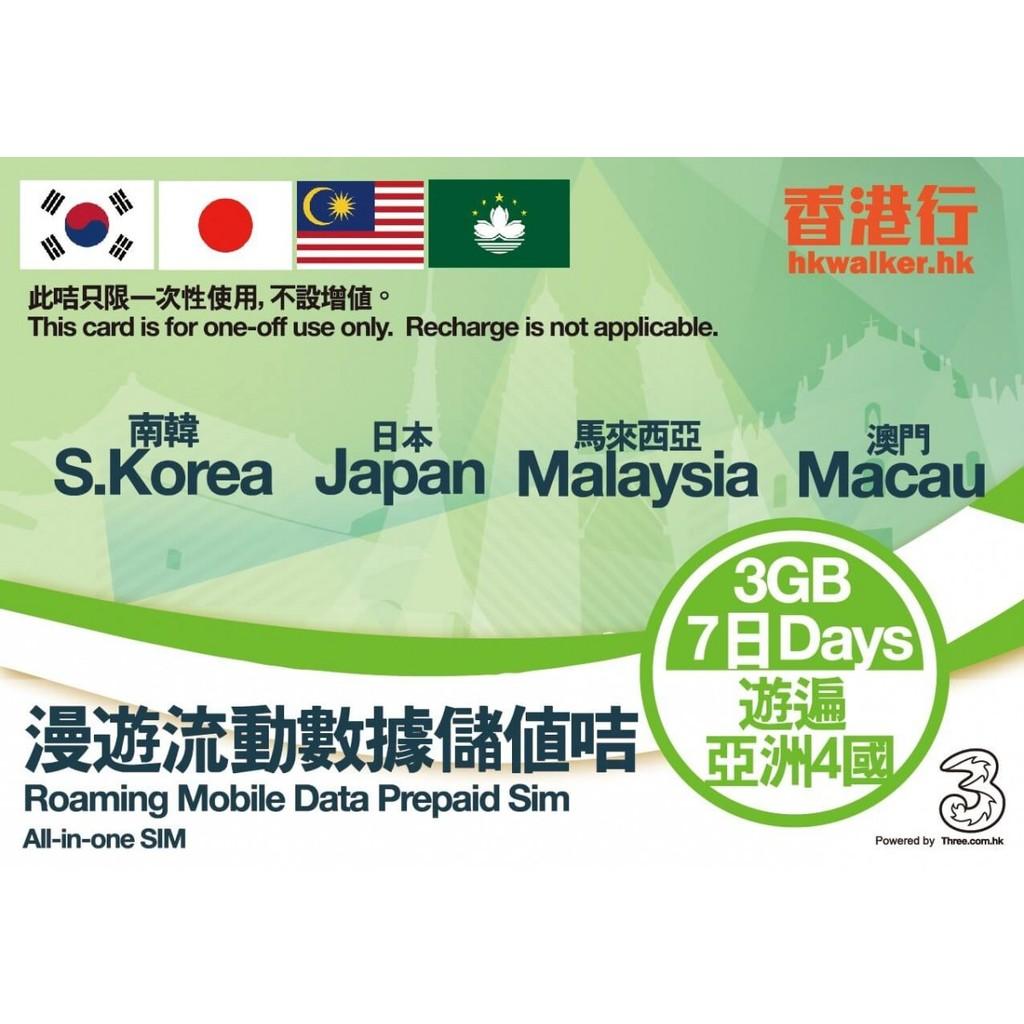 瘋 ~LikeData 愛上網~ 香港行 南韓馬來西亞澳門7 天共用3GB 4G 3G 流