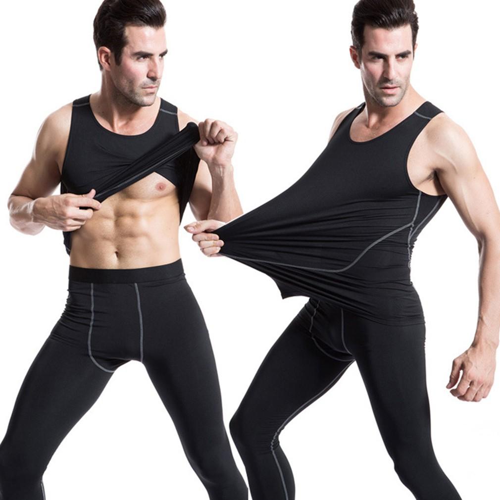 長實色男士緊身訓練汗漬吸汗 褲 長褲透氣速乾快乾排汗路跑跑步慢跑健身訓練籃球