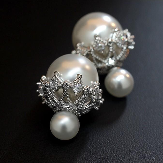 """~茉莉花""""~❤韓系縷空奢華珍珠晶鑽大力丸耳環❤"""
