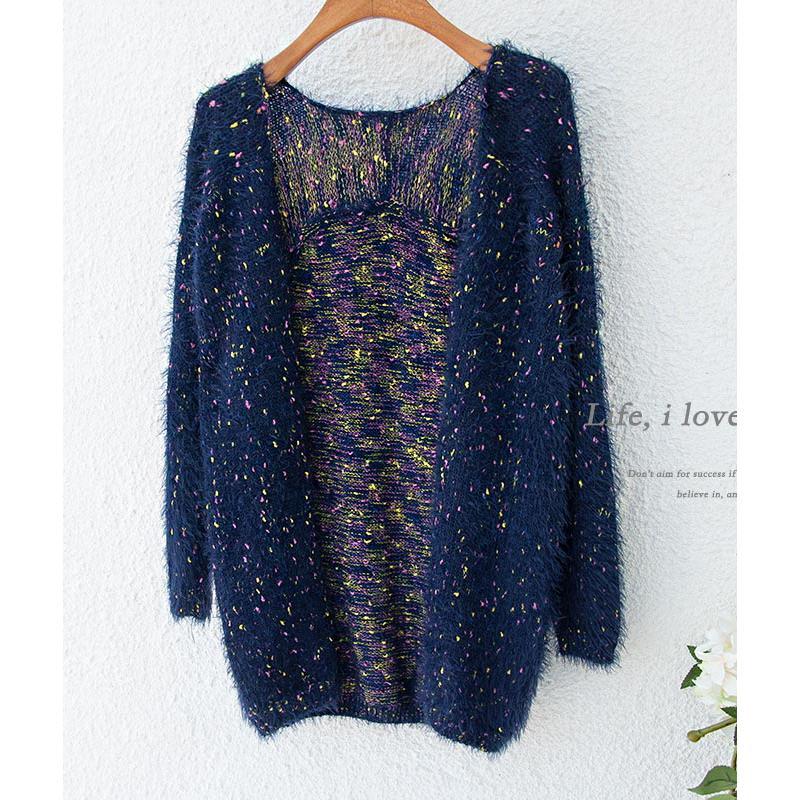 海馬毛針織衫毛衣女裝開衫 中長款彩色波點馬海毛外套