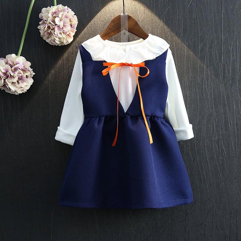 女童套裝  名媛學院風翻領長袖打底衫背心裙兩件套裙女童