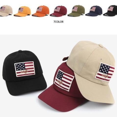 棒球帽韓國 美國國旗刺繡皮質調整帶棒球帽鴨舌帽老帽彎帽子K675