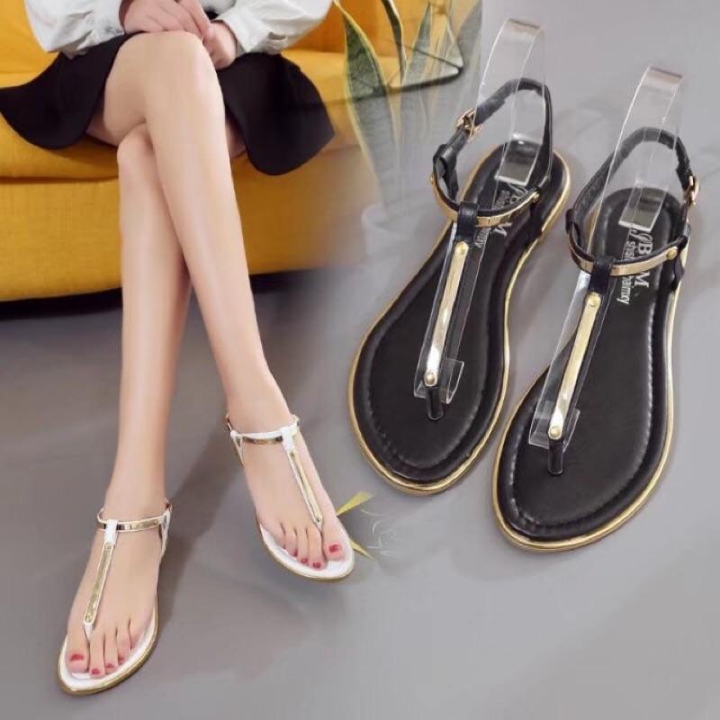 簡約 T 型金屬感夾腳涼鞋( )
