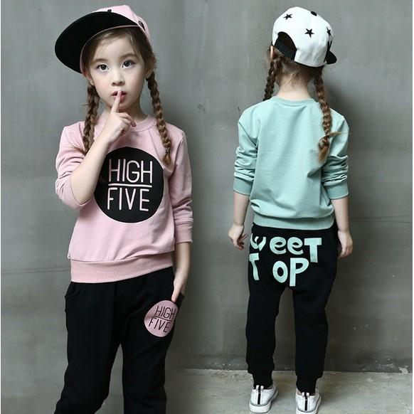 小圖藤 2016 女童装 韓休閒字母長袖上衣褲子寬鬆套裝