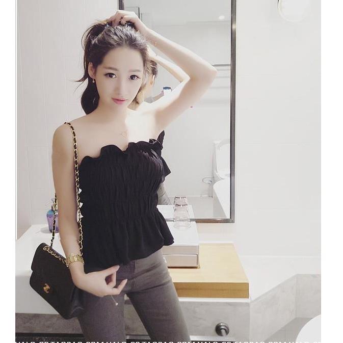 ❁韓國甜美泡泡棉性感純色褶皺荷葉邊平口上衣❁追加