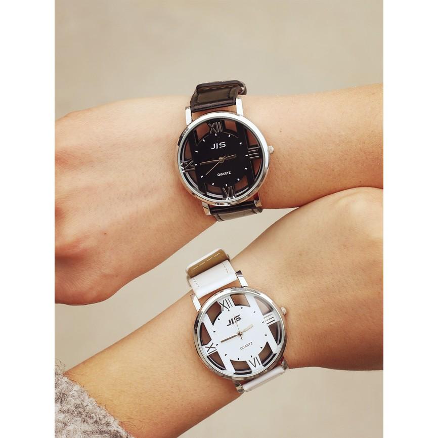 JIS 精時韓國大氣雙面鏤空復古原宿港風男女學生皮帶情侶石英手錶