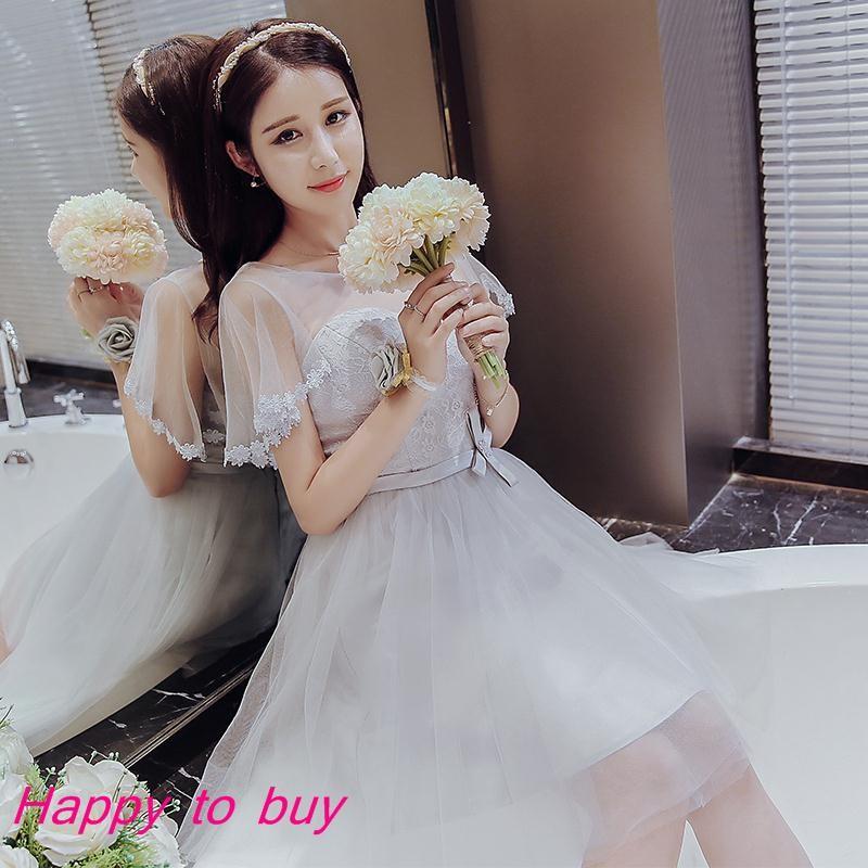 伴娘服短款2017  韓式灰色伴娘團禮服姐妹裙顯瘦宴會小禮服