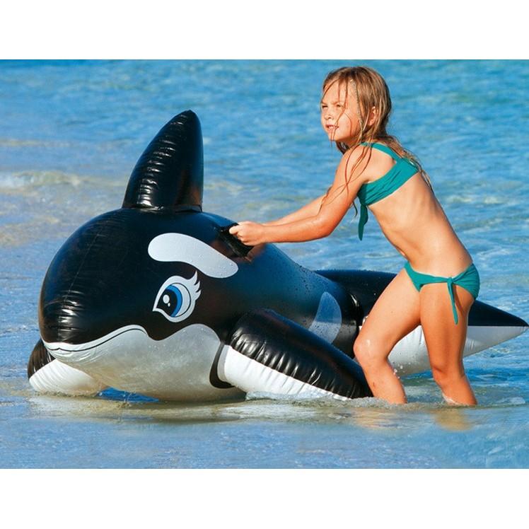 一露遊你買一送二INTEX 58561 游泳扶手戲水大黑鯨坐騎座圈兒童充氣座騎水上玩具浮椅