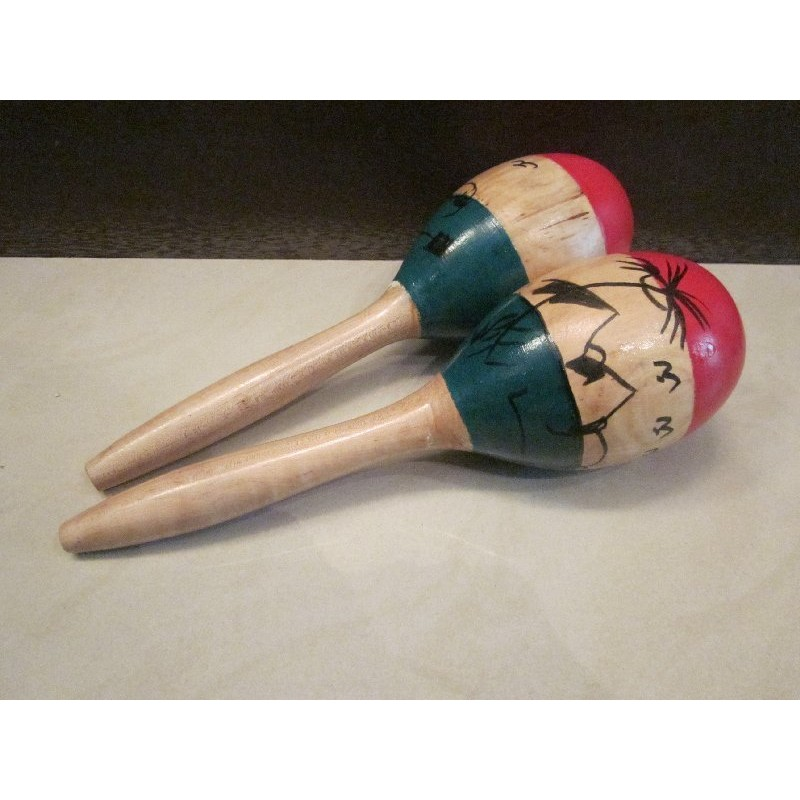 奧福樂器 彩繪木柄沙鈴一組2 支手搖沙鈴非塑膠尺寸28 公分