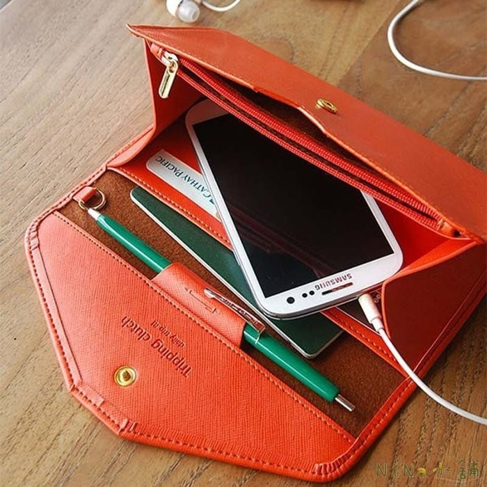 NiNa 小舖~X1539 ~韓國風格純色素面手機包信封錢包簡約 款多 護照包長夾手拿包1