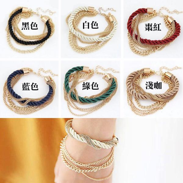 ╭~蕾兒0509 ~╮FC006 韓國 飾品率性自在金屬環鍊條編織多層手鍊手環首飾