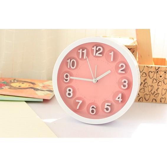 ~大趣味~~糖果色時鐘~ 簡約糖果色圓形掛鐘純色桌面小時鐘鬧鐘錶