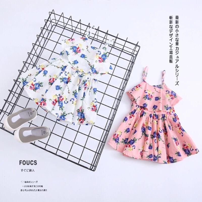 女童女寶兒童小碎花荷葉邊吊帶露肩連身裙背心裙小洋裝