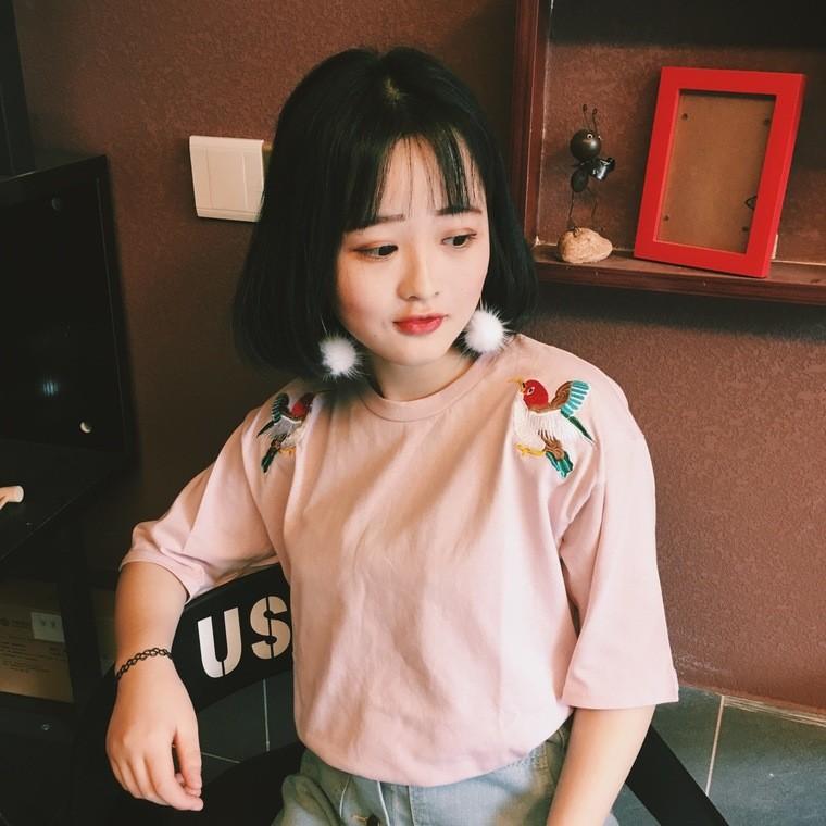 ღ7378 原宿 卡通刺繡寬松短袖T 恤上衣小清新打底衫學生