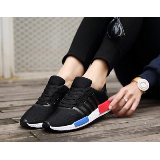 王!韓拼色跑步鞋紅藍拼色帆布鞋平底鞋休閒鞋