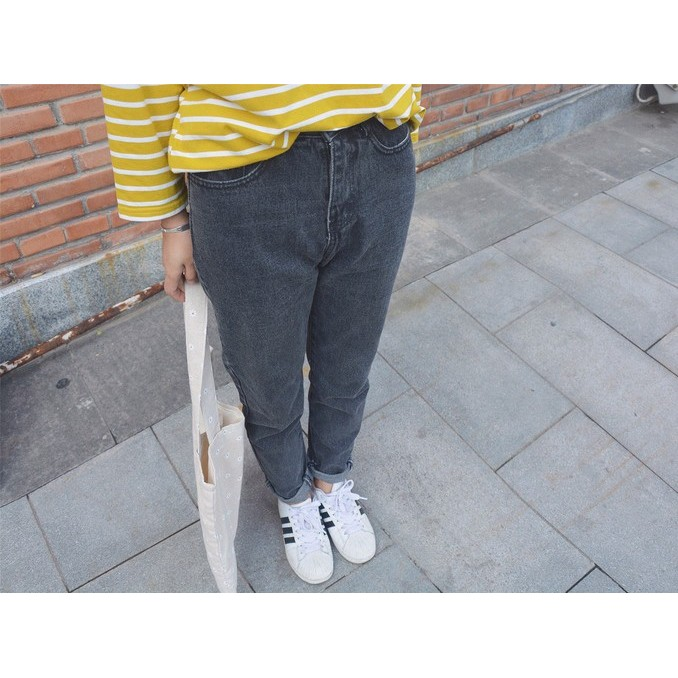 AC  韓國 加厚 牛仔褲百搭煙灰色黑色無彈力小腳垮褲帥氣女褲子
