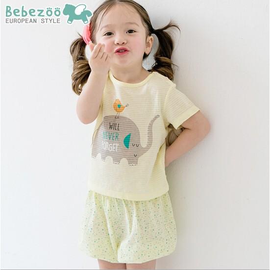 韓國Bebezoo 黃色大象夏日家居服套裝短袖上衣短褲