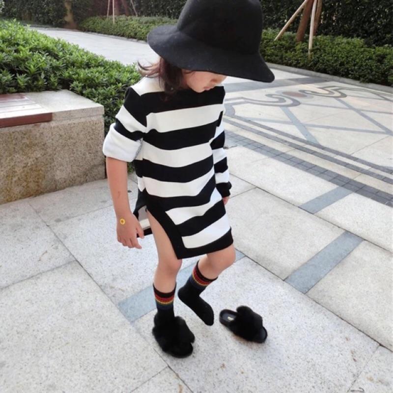 女童女寶兒童小童黑白條紋撞色配色下擺開叉中長版加厚加絨長袖圓領上衣連身裙