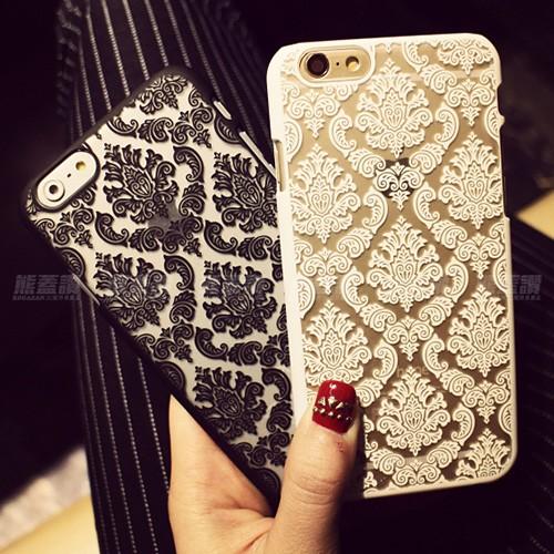 奢華風iPhone6 6S PLUS 手機殼保護硬殼鏤空蕾絲復古浮雕 宮廷圖騰圖案6PLU