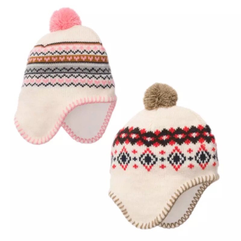 特惠外貿男女寶寶兒童針織純棉毛線內裡加絨保暖全棉護耳帽針織毛帽