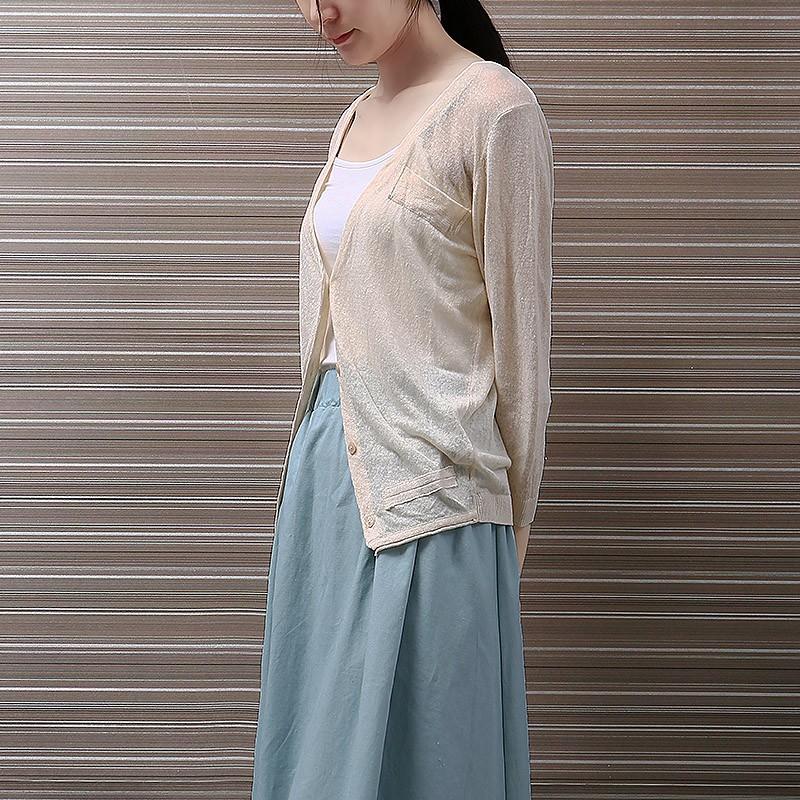 短款針織衫棉麻開衫女春天 中袖七分袖寬鬆空調衫亞麻外搭上衣