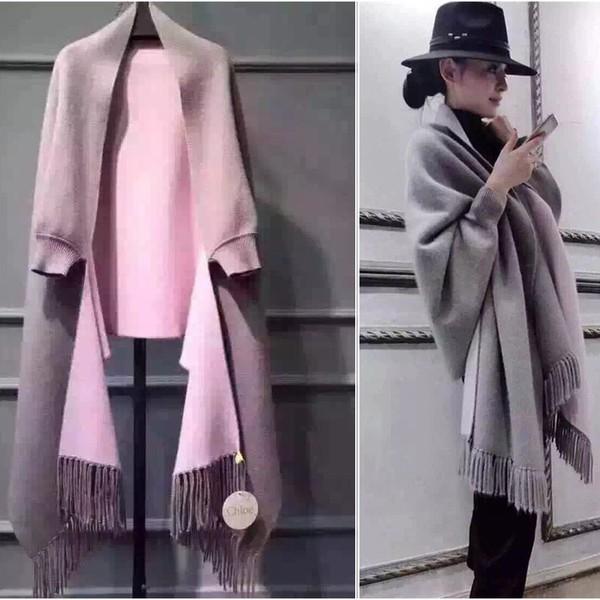 天氣轉涼 冬 女裝貂絨羊毛大衣針織開衫蝙蝠袖流蘇斗篷披肩毛衣外套圍巾