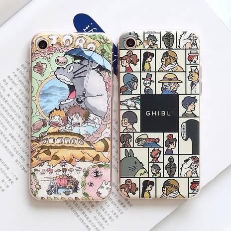 iPhone7 ⃣️宮崎駿頭像排列撐傘龍貓浮雕矽膠軟殼蘋果iPhone7 iPhone6