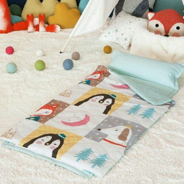 週年慶 ,數量有限只要1088  中韓國製Prielle 無毒純棉睡袋薄荷色玩偶款兒童睡袋