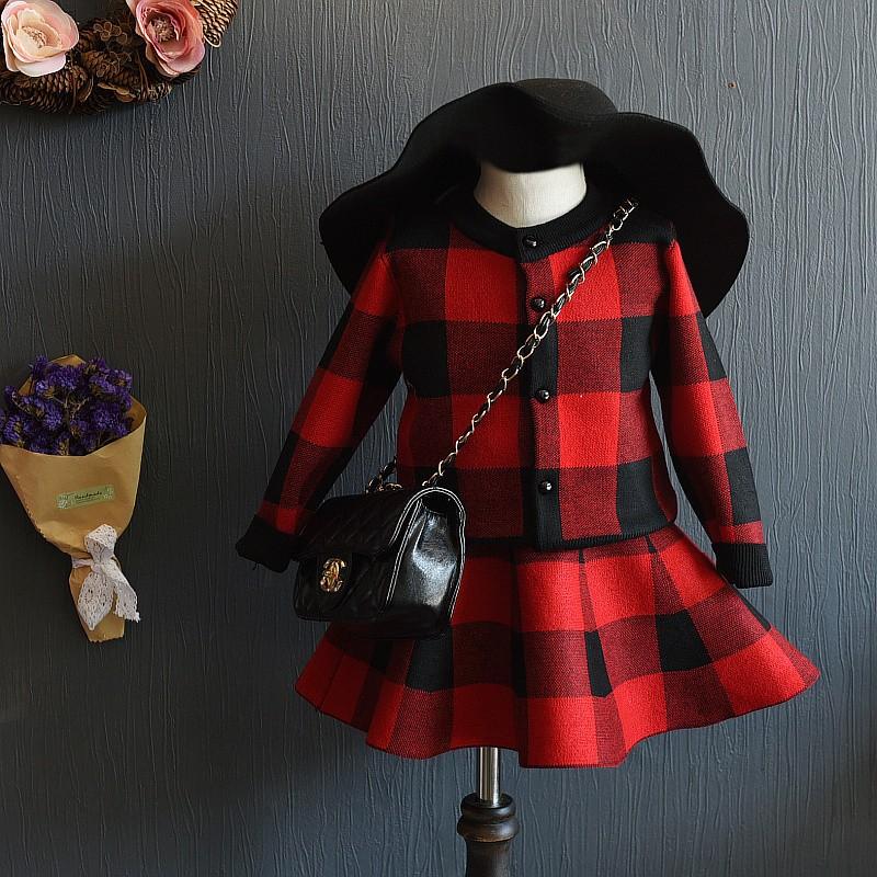 ~耐心等候~2016   女童格子外套短裙套裝兒童 針織兩件套