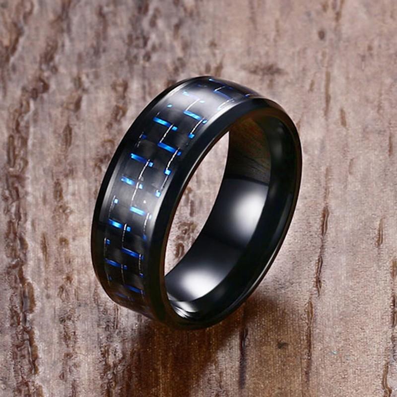 0A 純色優品小鋪日 碳纖維男士戒指 藍色簡約鈦鋼戒子食指環尾戒