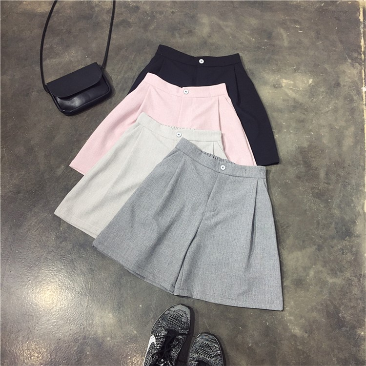 四個顏色任你挑西裝褲版型的寬松短褲后松緊腰百搭裙褲