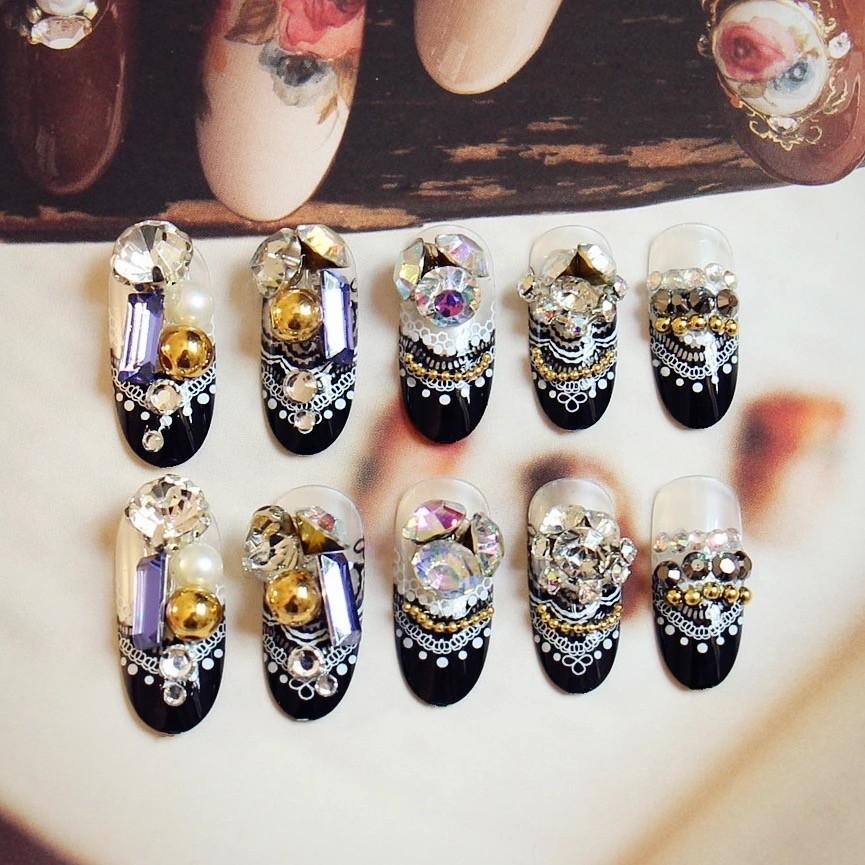2017 黑白蕾絲滿足24 片寶珠新娘成品美甲假指甲可愛貼片