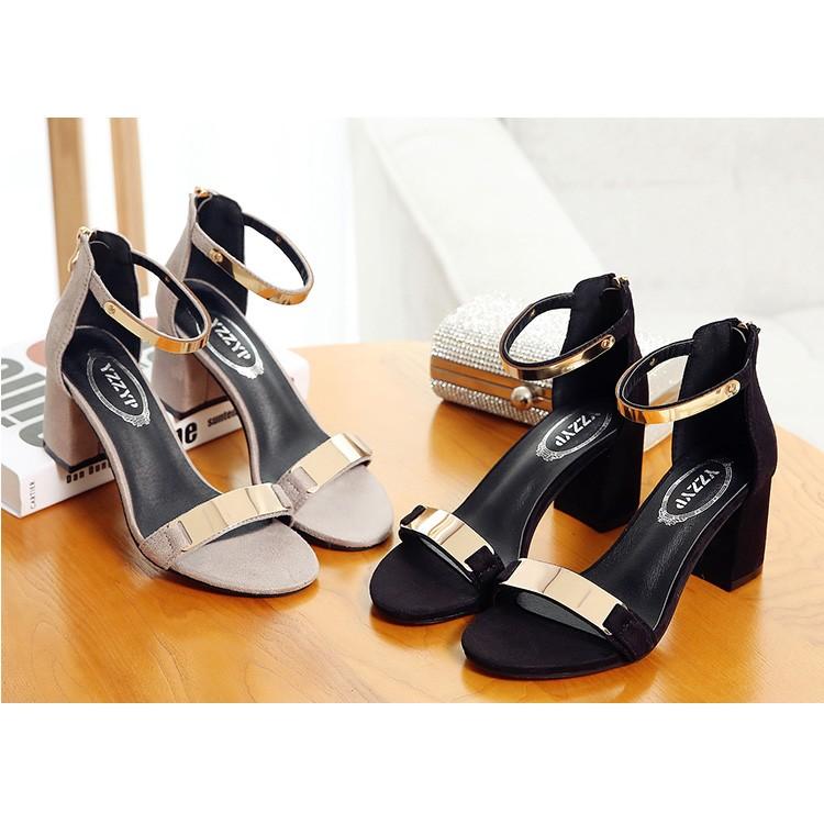 黑A 韓國 夏天百搭絨面金屬感一字扣粗跟羅馬涼鞋百搭女鞋红黑灰色