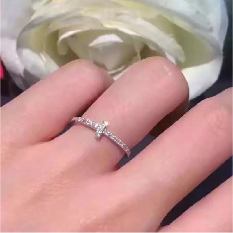 S925 純銀戒指tiff 同款十字架玫瑰金白金鑽戒定情信物銀戒指聖誕節情人節生日 V45