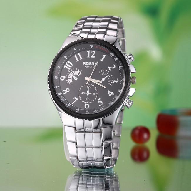 奢侈品牌手錶男士全鋼石英表男性圓形錶盤數字腕錶