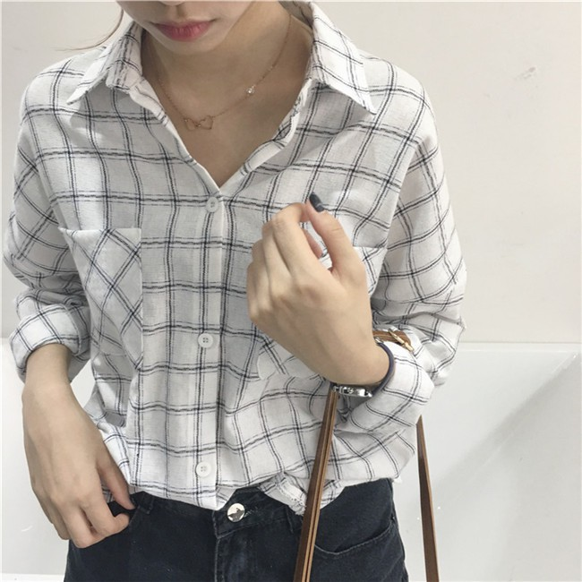 【 】 格紋格子 不規則口袋長袖襯衫襯衣上衣女韓系