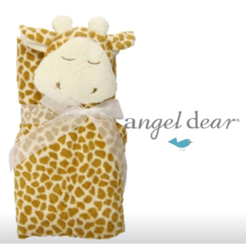 ~美國Angel Dear ~大頭動物嬰兒毛毯長頸鹿咖啡色
