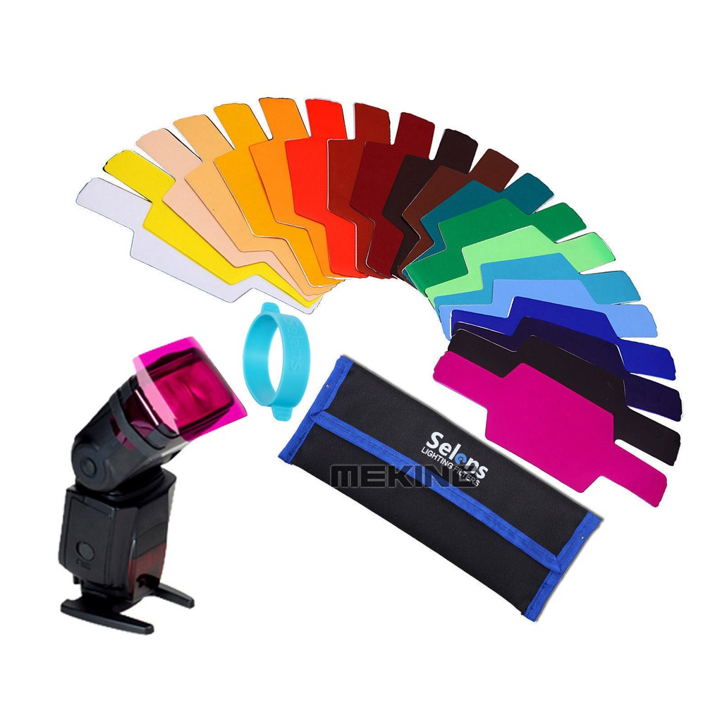 色溫片機頂閃光燈濾色片套裝色紙20 色 相機 贈袋Selens